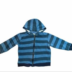 ✨3 for $30✨2T Boys Blue Striped Zip Up Hoodie